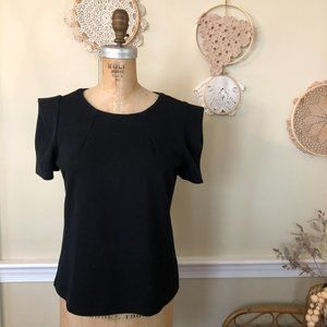Zara Black Knit Structured Strong Shoulder Top L